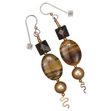 Tiger Eye and Smoky Quartz Earrings with Freshwater Pearl