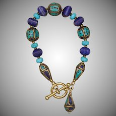 Lapis Lazuli and Turquoise Bracelet with Nepalese Beads