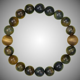 Pietersite and Vintage Brass Stretch Bracelet