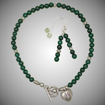 Malachite and Hill Tribe Silver Bracelet and Earrings Set