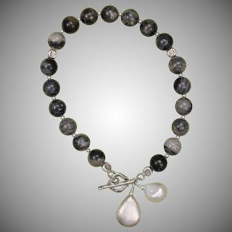 Black Silver Leaf Jasper and Hill Tribe Silver Bracelet