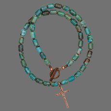 Turquoise Necklace with Cross Pendant