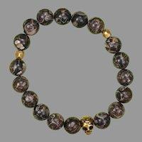 Turritella Agate Skull Stretch Bracelet