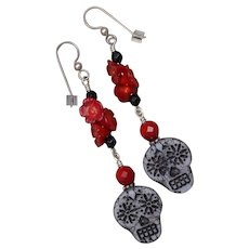 Sugar Skull and Red Roses Earrings
