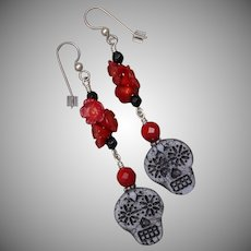 Sugar Skull and Red Roses Earrings