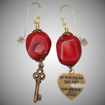 Red Coral Heart and Key Earrings