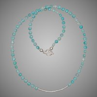 Amazonite Coins and Brushed Silver Tube Necklace