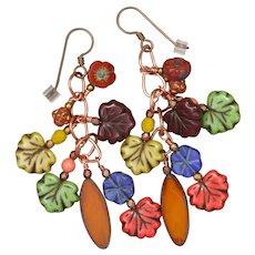 Colorful Czech Glass Fall Earrings