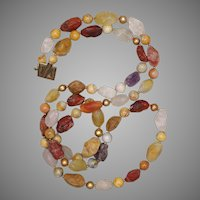 Gemstone and Freshwater Cultured Pearl Long Necklace