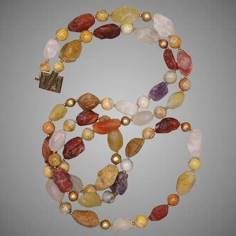 Gemstone and Freshwater Pearl Long Necklace
