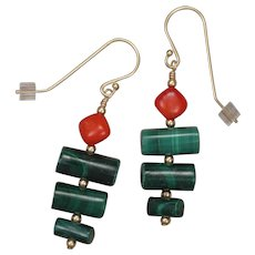 Green Malachite and Red Coral Drop Earrings