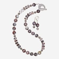 Botswana Agate Necklace and Earrings Set