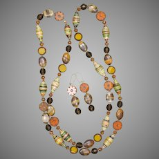Fall Colors Necklace with Paper, Czech Glass and Gemstone Beads
