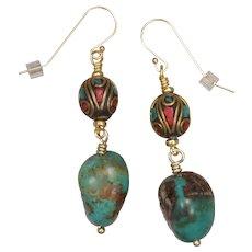 Tibetan Bead and Turquoise Earrings