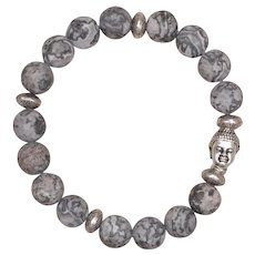Silver Crazy Lace Agate Stretch Bracelet