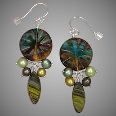 Czech Glass Beads and Freshwater Pearls Earrings