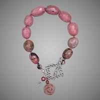 Rosy Rhodonite and Silver Bracelet