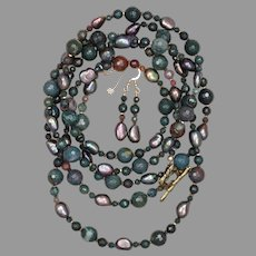 Green Bloodstone Jasper and Cultured Freshwater Pearl Long Necklace