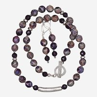 Impression Purple Jasper and Amethyst Necklace and Earrings Set