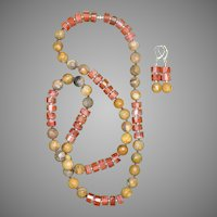 Colorful Crazy Lace and Red Agate Long Necklace and Earrings