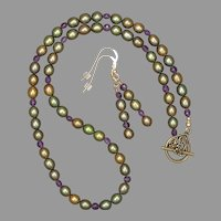 Amethyst Coins and Green Freshwater Cultured Pearls Necklace and Earrings