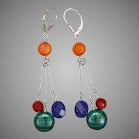 Multi Gemstone Color Block Sterling Silver Earrings