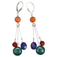 Multi Gemstone Color Block Sterling Silver Earrings