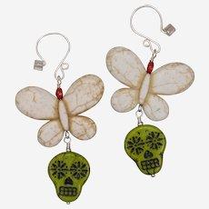 Butterfly on Sugar Skull Earrings
