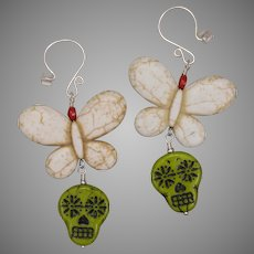 Butterfly on Sugar Skull Earrings