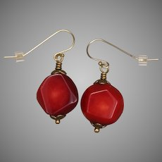 Luscious Red Coral Nuggets 'Passion' Earrings