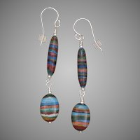 Colorful Rainbow Calsilica Long Earrings
