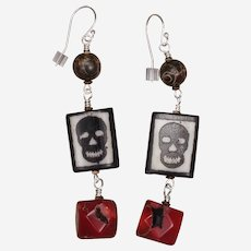African Bone Skull Bead and Coral Earrings