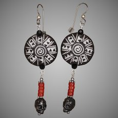 Tribal Stoneware Bead, Red Coral and Skull Earrings