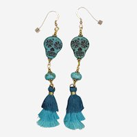 Turquoise 'Let's Dance' Sugar Skull Earrings