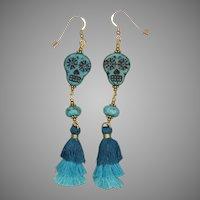 Turquoise 'Let's Dance' Sugar Skull Earrings