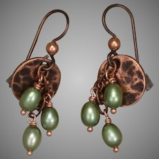 Green Cultured Freshwater Pearls and Copper Coin Earrings