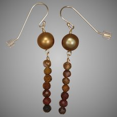 Agua Nueva Agate and Golden Cultured Freshwater Pearl Earrings