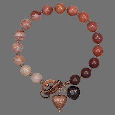 'The Key to My Heart' Porcelain Jasper Bracelet with Copper