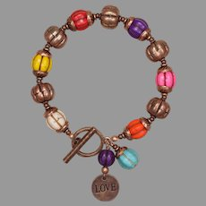 Multicolored 'I Love Pumpkins' Copper Bracelet