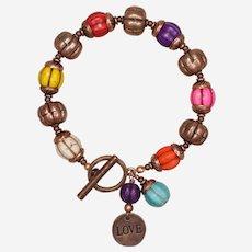 Multicolored 'I Love Pumpkins' Copper Bracelet