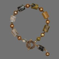 Ocean Jasper and Cultured Freshwater Pearl Bracelet