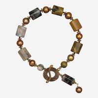 Ocean Jasper and Cultured Freshwater Pearl Bracelet