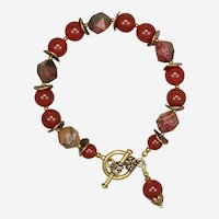 Carnelian and Red Creek Jasper Bracelet