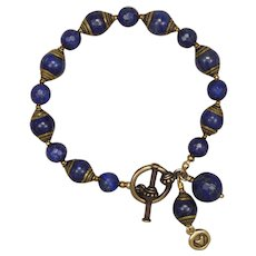 Lapis Lazuli Bracelet with Tibetan HAndcrafted Beads