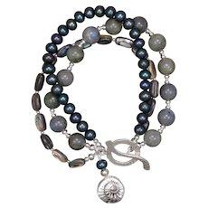 Labradorite, Paua Shell, and Freshwater Pearl Triple Strand Bracelet