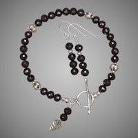 Red Garnet and Hill Tribe Silver Bracelet and Earrings Set