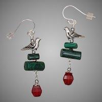 Malachite and Swarovski Crystal Earrings with Bird Charm