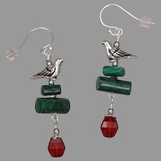 Malachite and Swarovski Crystal Earrings with Bird Charm