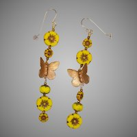 Butterflies and Yellow Flowers Earrings