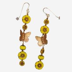 Butterflies and Yellow Flowers Earrings